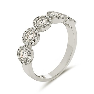 Other 18k white gold 5 stone halo style micro pave diamond wedding band