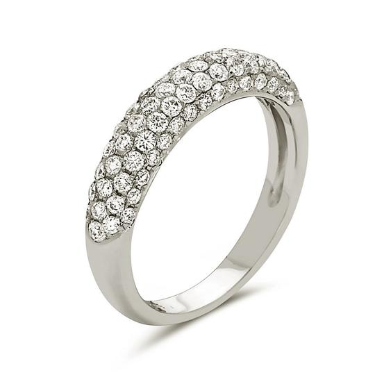 Other 14K white gold pave style wedding band with round cut diamonds.