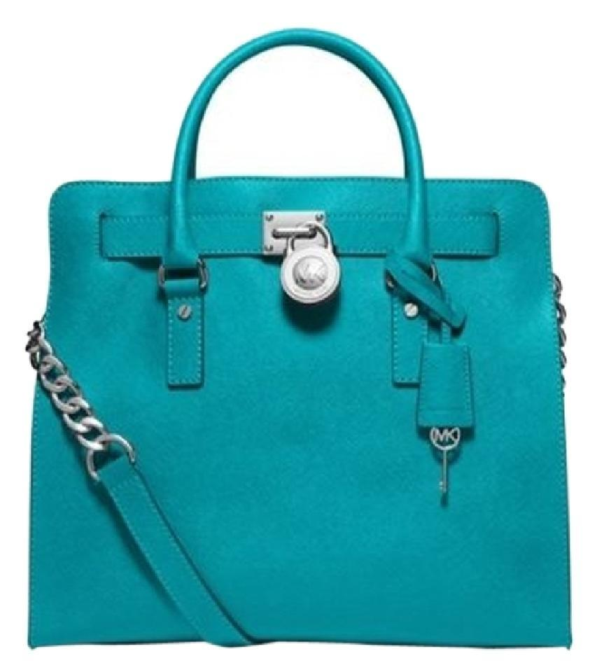 cc2b74f2b6f6 Michael Kors North South Satchel Shoulder Silver Turquoise Tote in Tile  Blue Image 0 ...