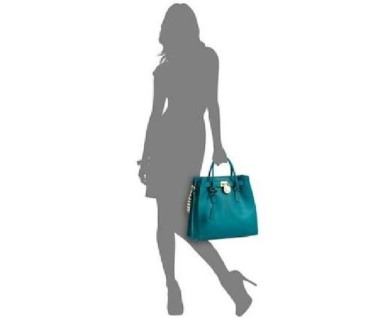 Michael Kors North South Satchel Shoulder Silver Turquoise Tote in Tile Blue