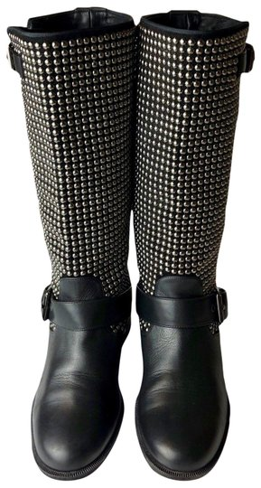 Preload https://img-static.tradesy.com/item/22907313/christian-louboutin-black-akhalil-studded-leather-flat-biker-euro-bootsbooties-size-eu-36-approx-us-0-1-540-540.jpg