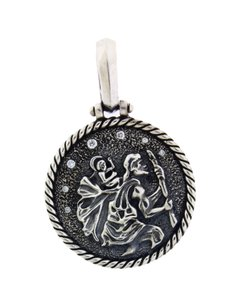 David Yurman David Yurman sterling silver St. Christopher Amulet Pendant w Diamond