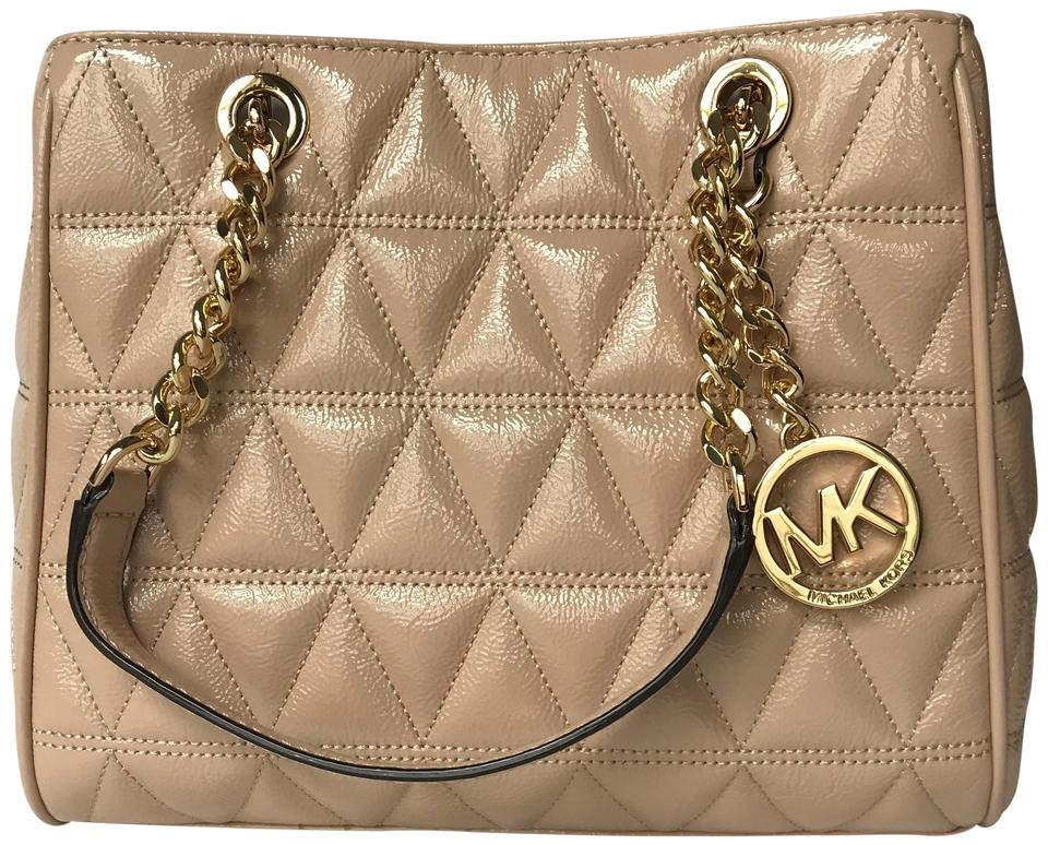 7d3b698f475f Michael Kors Susannah Medium Oyster Quilted Patent Leather Tote ...