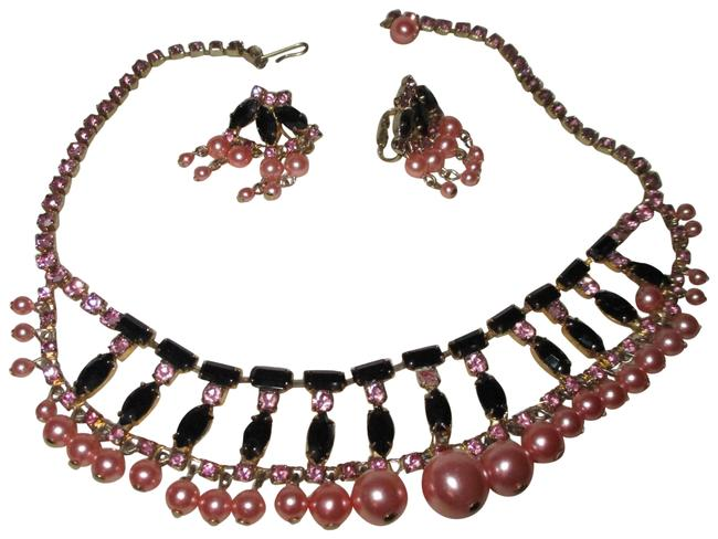 Black & Pink Vintage Faux Pearl Rhinestone Choker with Earrings Necklace Image 1