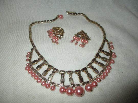 unknown vintage faux pearl rhinestone choker with earrings