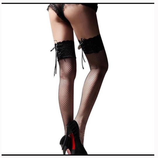 Queenesthershop Women Sexy Stockings Sheer Straps Lace Fishnet