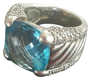 David Yurman David Yurman Sculpted Blue Topaz and Diamonds Ring
