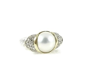 David Yurman David Yurman Sterling Silver 18K Mabe Pearl Diamond Capri Ring