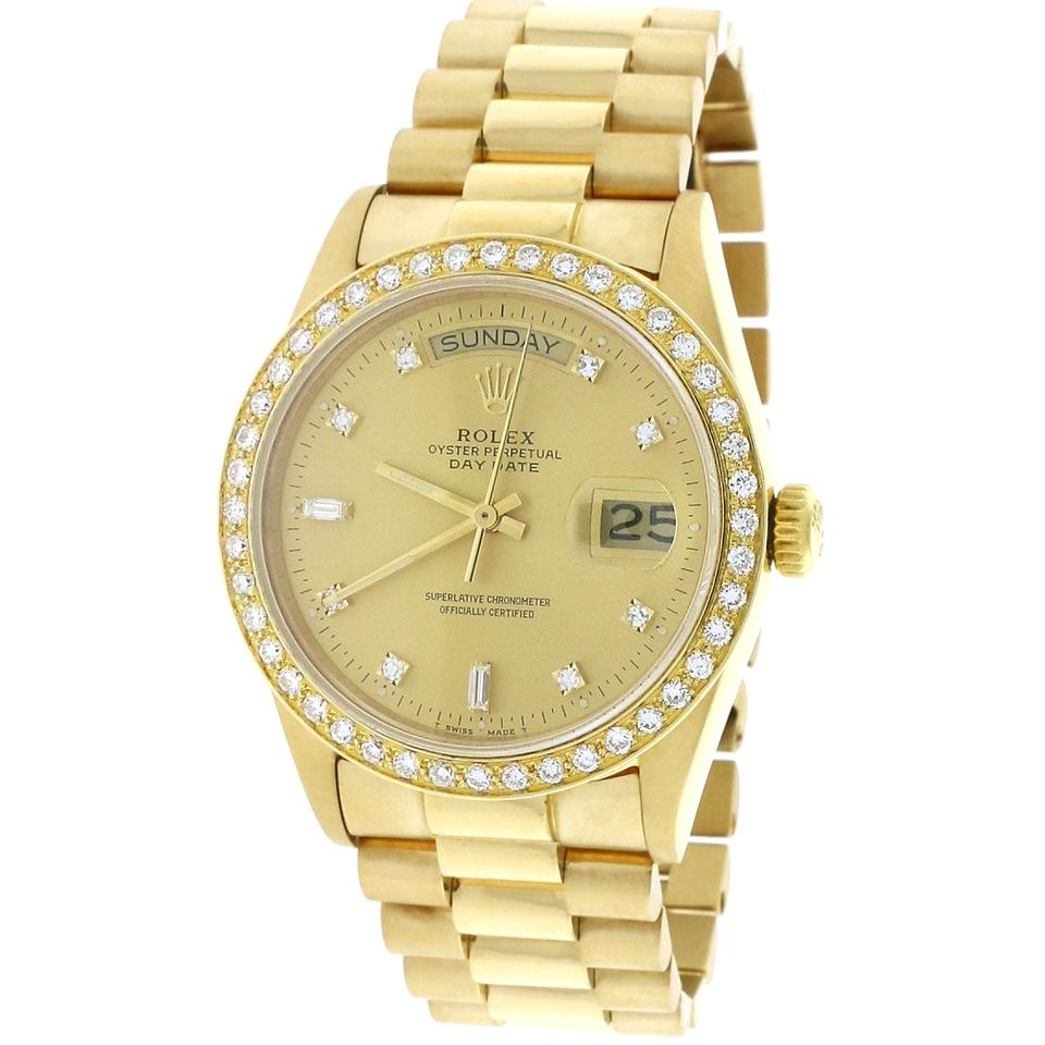 Rolex W President Day,date 18k Factory Diamond Dial 36mm 18038 W/Diamond  Bezel Watch