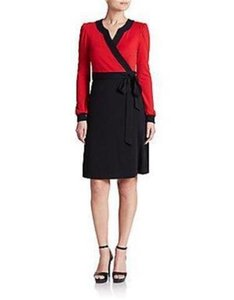 Diane von Furstenberg Dvf Wrap Wool Two Tone Dress