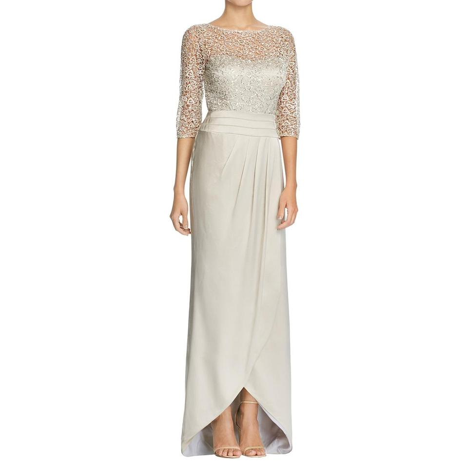 Kay Unger Beige Womens Lace Sheath Sequined Evening Long Formal ...