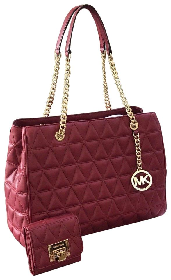 446b3e049450 Michael Kors Susannah Large Tote Quilted Handbag wallet Set Cherry ...