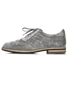 Chanel Quilted Suede Oxford grey Flats