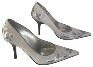 Donald J. Pliner metallic silver/gray/light blue Pumps