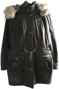 Laundry by Shelli Segal Parka Army Faux Fur Knee Length Anorak Coat