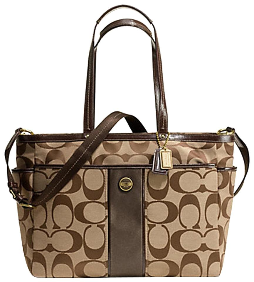 81e93e2387 Coach Signature Print Center Stripe Multifunction Tote Brown Jacquard Fabric  Diaper Bag