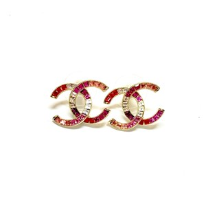 Chanel Red Pink Crystal Gold CC Logo Baguette Crystals Classic 15s Earrings