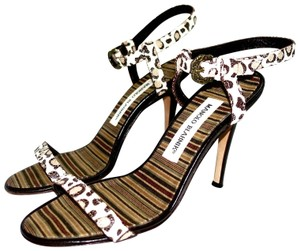 Manolo Blahnik Sexy Ankle Strap Cream and Brown Leopard Sandals