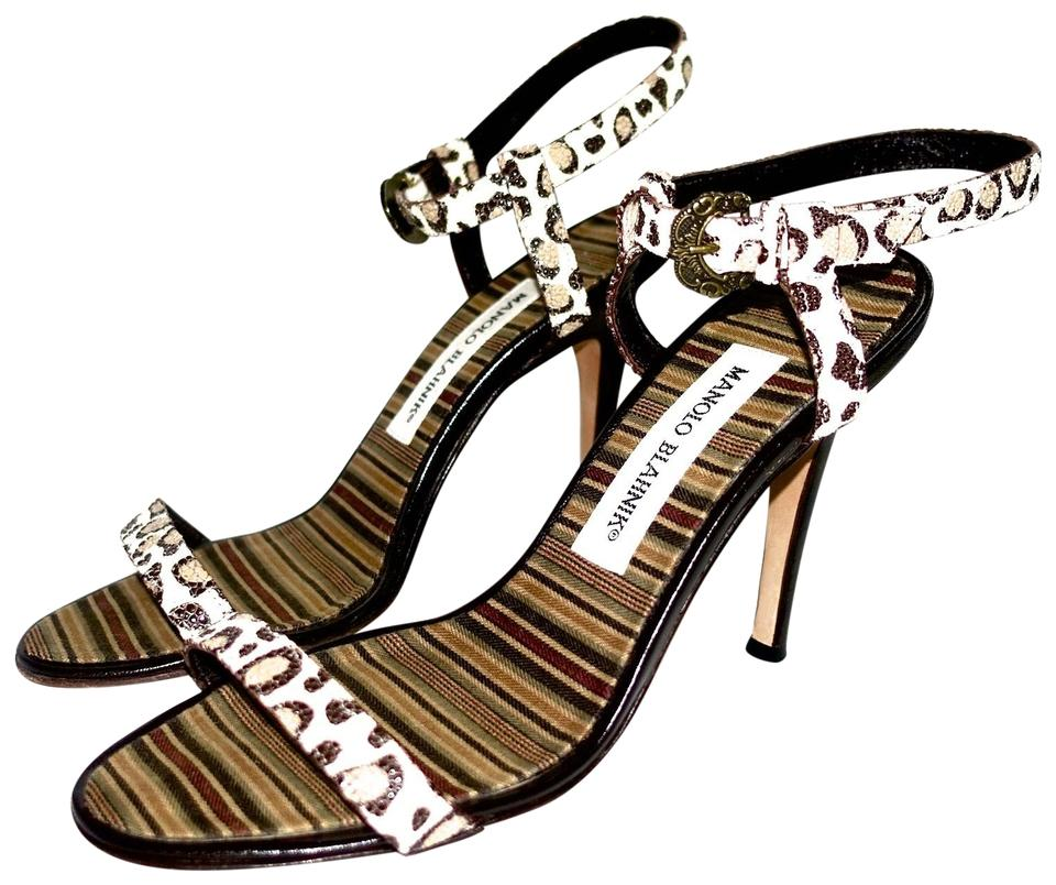 bc7815a00f1 Manolo Blahnik Sexy Ankle Strap Cream and Brown Leopard Sandals Image 0 ...