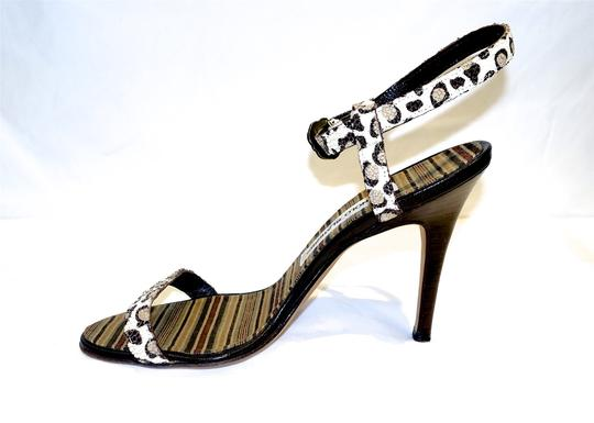 Manolo Blahnik Sexy Ankle Strap Cream and Brown Leopard Sandals Image 1