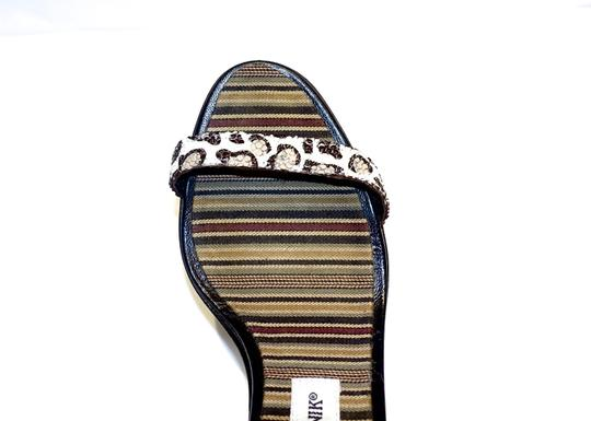 Manolo Blahnik Sexy Ankle Strap Cream and Brown Leopard Sandals Image 3