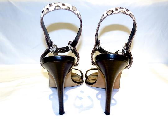 Manolo Blahnik Sexy Ankle Strap Cream and Brown Leopard Sandals Image 4