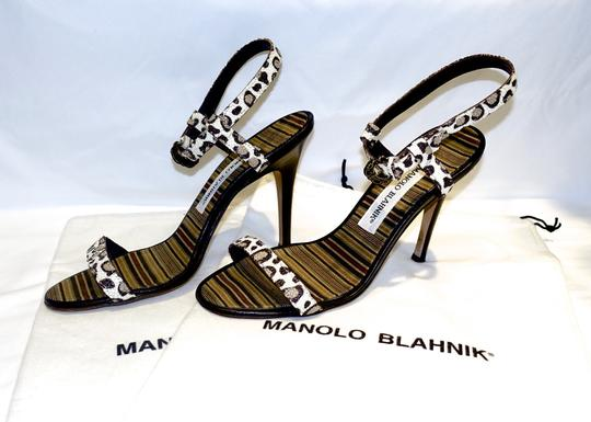 Manolo Blahnik Sexy Ankle Strap Cream and Brown Leopard Sandals Image 6