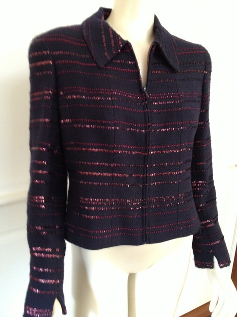 Chanel Sequin Striped Zip Front Jacket