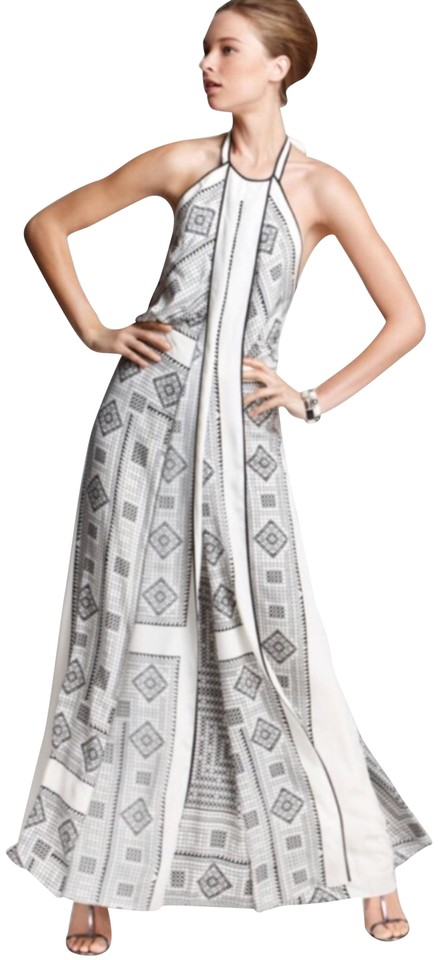 BCBGMAXAZRIA White and Black Arlenis Scarf-print Evening Gown Long ...