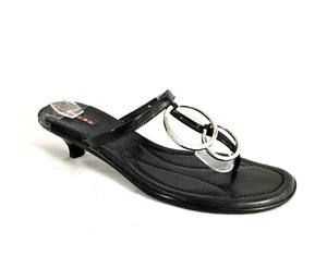 Prada Thong Toe Patent Leather Black Sandals