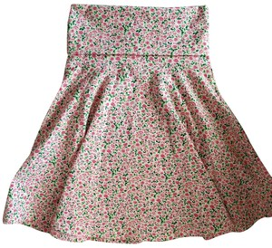 American Apparel Spandex Turkish Cotton Floral Mini Skirt Pink Tea Rose on Creme