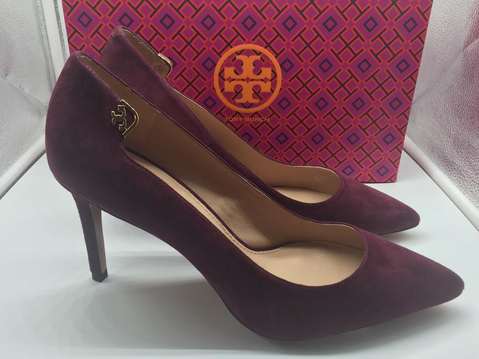 f161e01c53d2 Tory Burch Burgandy Suede New In Box Port Pumps Image 6. 1234567