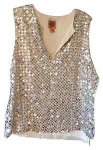 Bergdorf Goodman Top Silver and ivory