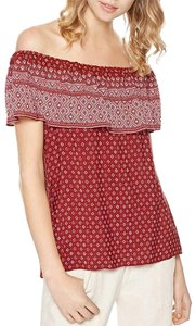 Sanctuary Off-the-shoulder Printed Geometric Print Ruffle Top Red/white