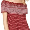 Sanctuary Off-the-shoulder Printed Geometric Print Ruffle Top Red/white Image 1