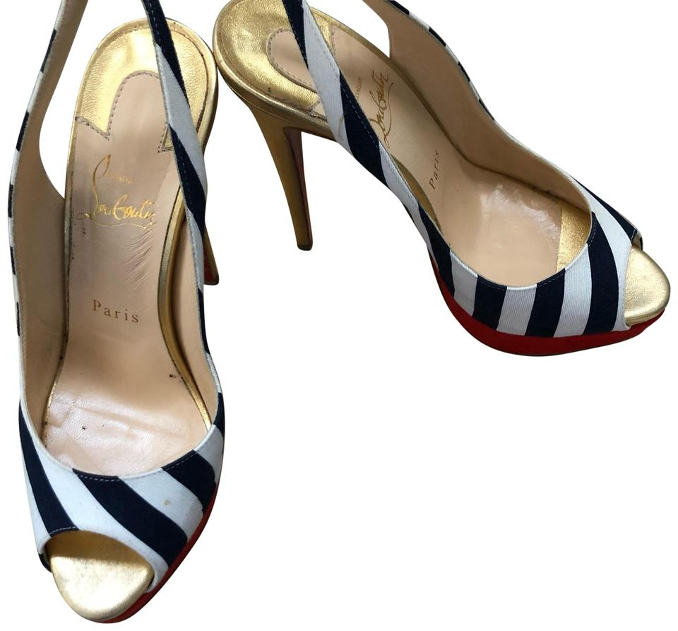 b8eda0a2ae9 Christian Louboutin Navy and White Stripe Red Suede Platform Lady ...