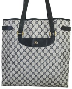 Gucci Gg Web Vintage Tall Tote in Ivory and Navy