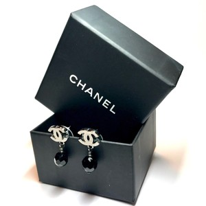 Chanel Chanel Silver CC Coco Black Onyx Faceted Dangle Earrings