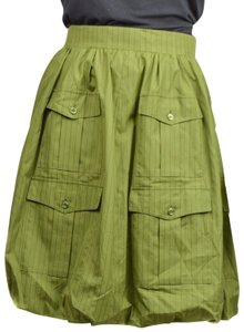 Chanel Cotton Striped Skirt Green