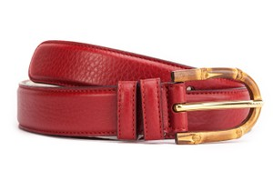 Gucci Gucci Bamboo Buckle Red Leather Belt 322954