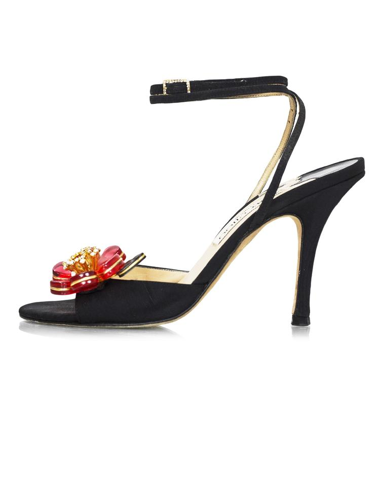 12657cbc938 Jimmy Choo Black Red Crystal Flower with Box Db Sandals .