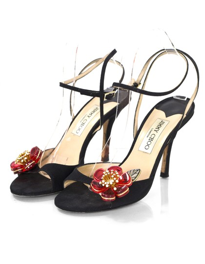3d536e860472 Jimmy Choo Black Red Crystal Flower with Box Db Sandals .