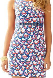 Lilly Pulitzer short dress Red Pink Navy White Gillty Print Cut Out Scallop on Tradesy