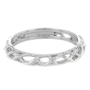 Hearts on Fire Braided Platinum Wedding Band Stackable Ring (7381)