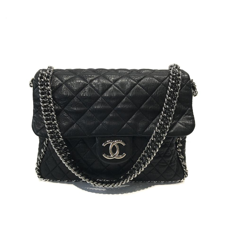 Chanel Washed Quilted Maxi Chain Around Flap Black Lambskin Leather ... 1a409d397478e