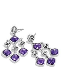 David Yurman Sterling Silver Amethyst Sculpted Cable Chandelier Earrings