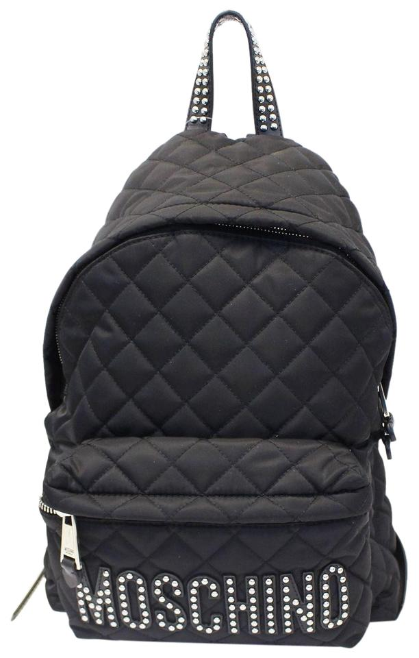 0fb60c78161f Moschino Women Large Studded Quilted Black Nylon Backpack - Tradesy