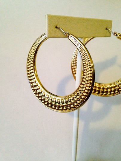 Other Textured Large Gold-Tone Hoop Earrings