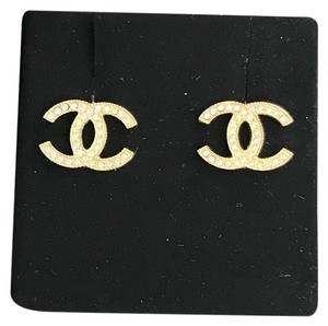 Chanel Classic Gold Moscova Swarovski Crystal CC Interlocking Earrings