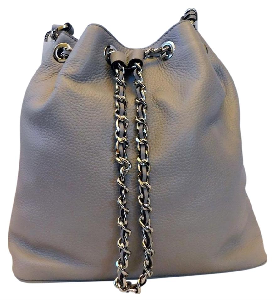 3d247ac46f3b MICHAEL Michael Kors Bucket Frankie Drawstring Pearl Grey Leather Shoulder  Bag